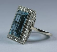 Art Deco Aquamarine Diamond French Ring
