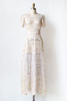 vintage 1930s embroidered voile party gown