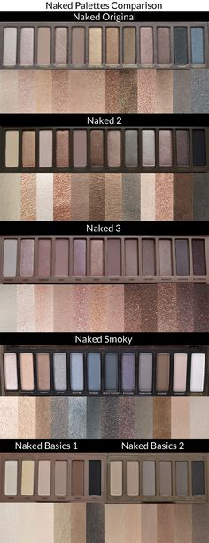 Urban Decay Naked Palette Swatches Comparison - Here is a comparison of all the Urban Decay Naked Palettes. This includes Naked Original, Naked Naked Naked Smoky and Naked Basics 1 and Naked Basics 2 Eye Makeup Tips, Skin Makeup, Makeup Tools, Beauty Makeup, Makeup Ideas, Makeup Set, Mac Makeup, Makeup Brushes, Makeup Bags