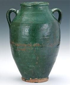 Antique Handmade Green Glaze Earthenware Pottery Vase Jar http://www.busaccagallery.com/catalog.php?catid=125=5843=1