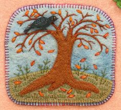 by Salley Mavor, Wee Folk Studio -- love this,love trees, birds, fall, what's not to love?  oh yes, and love blanket stitch too.
