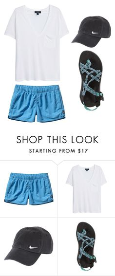 """""""Outfit Idea by Polyvore Remix"""" by polyvore-remix ❤ liked on Polyvore featuring Patagonia, MANGO, NIKE and Chaco"""