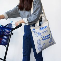 Oohlala Tabom market blue tote shoulder bag - fallindesign