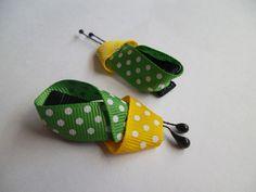 Par de Presilhas Ladybug Verde e Amarelo