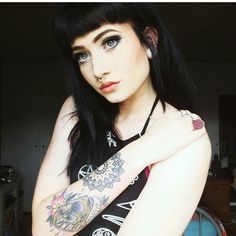 Next tattoo can't come soon enough 🔮💀💉 Harmony Nice, What Makes You Beautiful, Grunge Look, Gothic Girls, Body Mods, Sexy Tattoos, Inked Girls, Dark Hair, Fashion Beauty