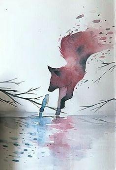 Bird watercolor tattoo illustrations 55 New Ideas Cute Animal Drawings, Cute Drawings, Fantasy Kunst, Fantasy Art, Arte Sketchbook, Fox Art, Watercolor Bird, Watercolor Tattoo, Art Inspo