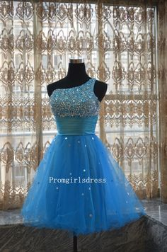 Short One Shouldered Blue Prom Dress