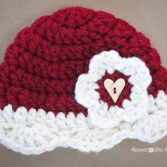 Repeat Crafter Me: Crocheting - Valentine hat
