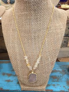 24k gold plated druzy necklace with citrine chip accents.  Only $25