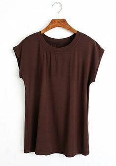 Brown Cotton Round Neck Short Sleeve Plain Tops