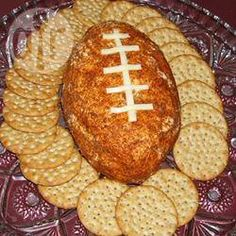Football Cheese Ball - Get ready for game time with this creamy and spicy cheese ball made with cheddar, green onions and taco seasoning. Cheese Ball Recipes, Appetizer Recipes, Appetizers, Party Recipes, Dip Recipes, Party Snacks, Recipies, Super Bowl Essen, Salads