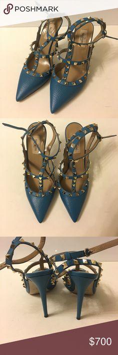 Valentino Rockstud T-Strap Pumps Valentino Rockstud Blue T-Strap Pumps. Worn Once. Valentino Garavani Shoes Heels