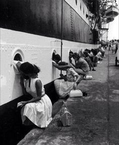 Wives say goodbye to their loved ones in the Navy, circa 1963