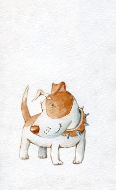 The Bashful A sweet and albeit bashful dog. Art Drawings For Kids, Animal Drawings, Cute Drawings, Dog Cards, Dog Illustration, Cartoon Dog, Dog Paintings, Art Plastique, Pet Portraits