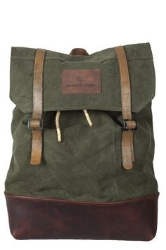 canvas leather army backpack