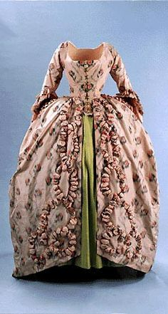 Dress worn by Mlle Terroux as the Baronne de Beaumouchel Montreal, 1898;  Dress and apron French ca. 1880