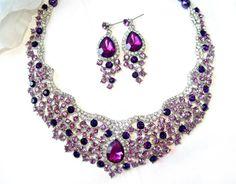 Bridal jewelry set wedding purple set bib necklace by crisana01, $48.00