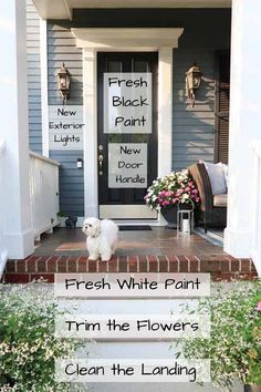 Looking to update your curb appeal on a budget? Here are simple and easy ways to update your home's front entry for major curb appeal. Before and after of my front entry and the projects I tackled! | Porch Daydreamer Exterior Lighting, Outdoor Lighting, Outdoor Decor, Outdoor Ideas, Home Renovation, Home Remodeling, Curb Appeal Porch, Front Door Signs, Front Doors