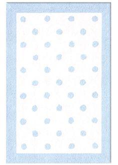 Polka Dots Light Blue Cotton Loop Pile Rug @LaylaGrayce