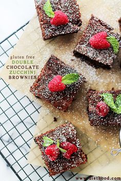 Gluten Free Double Chocolate Zucchini Brownies: Decadent and fudgy Double Chocolate Brownies made with creamy Cashew Butter and Zucchini.