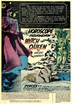 """""""Horoscope Phenomenon or Witch Queen of Ancient Sumeria?"""" by Jack Kirby & Mike Royer (Weird Mystery Tales #1, 1972)."""