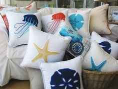 Items similar to Nautical, Coastal and Beach Pillows, Ocean Themed Pillows, Starfish Pillows, Sand Dollar Pillow on Etsy Seaside Decor, Beach House Decor, Coastal Decor, Coastal Curtains, Coastal Entryway, Nautical Pillows, Nautical Home, Nautical Style, Coastal Cottage