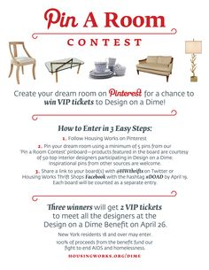 Housing Works Pin a Room Contest. Win 2 VIP Tickets to our Design on a Dime benefit. #pinterest #contest #pintowinme