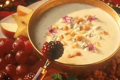 Try this delicious recipe for Honey Blue Cheese Fondue. It is sure to please even the most complex palates with its combination of savory and sweet flavor.