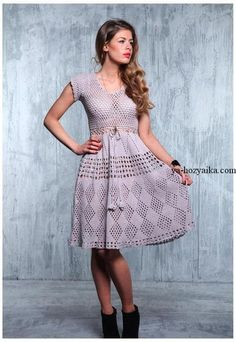 This is an absolutely charming dress! really simple shirt pattern and lovely, lovely girly skirt. Crochet Skirts, Crochet Clothes, Crochet Woman, Diy Crochet, Knit Dress, Dress Skirt, Beautiful Dresses, Nice Dresses, Summer Dresses For Women