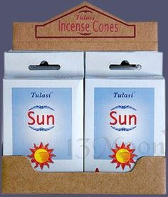 The Sun Cone Incense The star of all aromas, the Tulasi Sun fragrance is filled with energy and vitality. Use in your Solar Rituals, Celebrations and Meditations. 15 Cones of Quality Tulasi Incense.