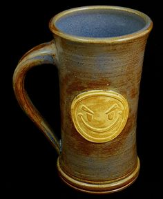 Stoneware Evil Smiley Face Mug by Dwarvesong on Etsy