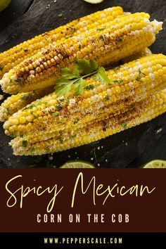 Mexican corn on the cob (a.k.a. in Spanish elotes) is a favorite south of the border – charred corn lathered in chili mayo and topped with cojita cheese, cilantro, and smoked paprika. And don't worry if you have no grill at hand. You can roast the corn in the oven and still have a great tasting treat. #cornonthecob #corn #spicy #mexican Spicy Vegetarian Recipes, Healthy Vegetable Recipes, Vegetarian Appetizers, Oven Roasted Corn, Boiled Vegetables, Sauteed Vegetables, Veggies, Corn In The Oven, Kitchens