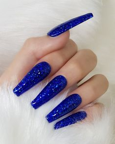 Blue Glitter Nails, Blue Coffin Nails, Cobalt Blue Nails, Black And Blue Nails, Blue Stiletto Nails, Blue Ombre Nails, Red Black, Cute Acrylic Nail Designs, Coffin Nail Designs