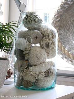 yarn bits in a mason jar