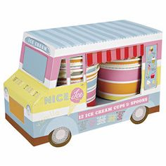 A wonderful way to provide sweet treats at a party or a special occasion. This cute little ice cream van is decorated with bright patterns and contains 12 matching patterned ice cream cups and 12 wood