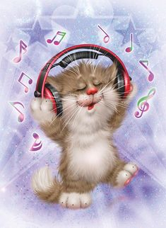 "Photo from album ""©Xenopus Art"" on Yandex. Kitten Cartoon, Cat Quilt, Music Artwork, Cat Drawing, Dog Art, Crazy Cats, Cool Cats, Cute Art, Cats And Kittens"