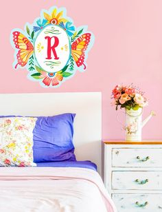 Butterfly Shield. Katie Daisy Monogram Wall Decal $39