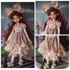 """Prototype Limited Edition Outfit """"Rosey Posey Patches"""" by Kim Arnold for The Trinket Box modeled on Kaye Wiggs MSD BJD"""