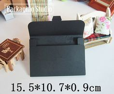 Retail Black Kraft Paper Box for Postcard Photo Albumn Boxes Play Card Packaging Paper Boxes 50 pieces