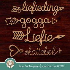 Afrikaans word arrows V. 100 Words, More Words, Cast Acrylic, Arrow Pattern, Shops, Afrikaans, Kids Decor, Vector Design, Wooden Boxes