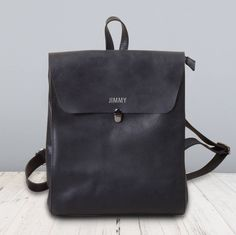 Minimalist Genuine Grain Leather Backpack Personalised by EAZO, the perfect gift for Explore more unique gifts in our curated marketplace. Leather Backpack Pattern, Diy Backpack, Personalized Luggage, Minimalist Bag, Bags Uk, Cowhide Leather, Backpacks, Purses, Black