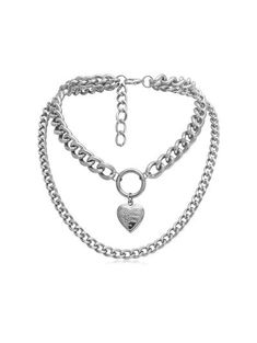 The heart shape pendant can be opened. Gender: For Women Metal Type: Alloy Style: Romantic Shape/Pattern: Heart wants more ? Layered Necklaces Silver, Mens Silver Necklace, Gold Choker Necklace, Metal Necklaces, Unique Necklaces, Pendant Necklace, Stone Necklace, Crystal Necklace, Silver Jewelry