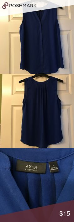 Royal Blue Blouse Blue v-neck sleeveless blouse with covered buttons down the middle Apt. 9 Tops Blouses
