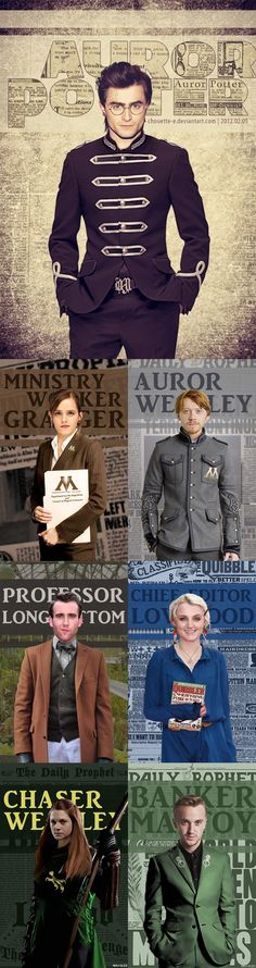 Auror Potter, Ministey Worker Granger, Auror Weasley, Professor Longbottom, Chief Editor Lovegood, Chaser Weasley & Banker Malfoy