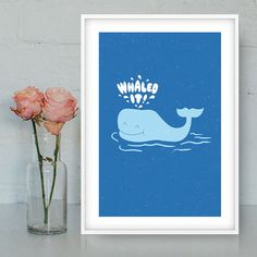 Whaled it poster Funny illustration Whale printable by Quotes2love