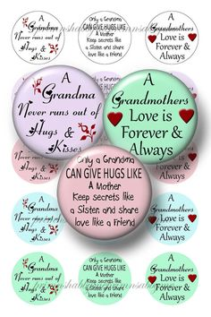 Grandma Sayings 1 Inch Circles Bottle Cap Images by primnshabbyme