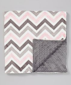 Charcoal & Pink Zigzag Minky Stroller Blanket by Lolly Gags #zulily #zulilyfinds
