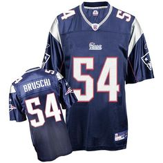 Reebok New England Patriots Tedy Bruschi 54 Blue Replica Jerseys Sale