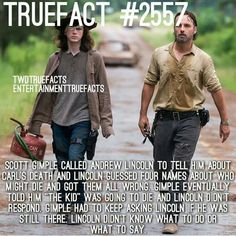 Love Andrew Lincoln for being so shook on Carl's death news. The walking dead facts TWD Walking Dead Coral, Walking Dead Facts, Walking Dead Funny, Walking Dead Zombies, The Walking Dead Tv, Walking Dead Quotes, Twd Memes, Memes Humor, Friday Humor