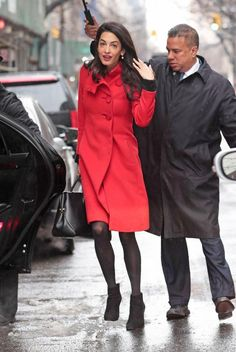 Amal Clooney Beats N.Y.C.'s Winter Weather in a Bold Crimson Coat  #InStyle